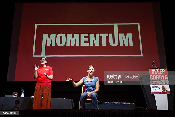 British comedian Francesca Martinez speaks at a rally in support of Labour Leader Jeremy Corbyn by the grassroots group Momentum at The Troxy on July...