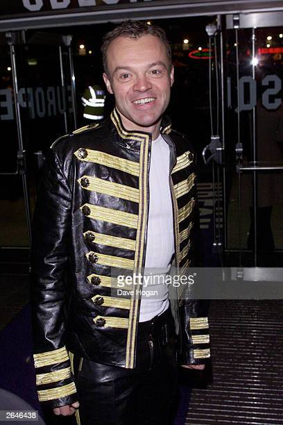 """British comedian Graham Norton attends the premiere party for the film """"Lord of the Rings: The Fellowship of the Ring"""" at Tobacco Dock on December..."""