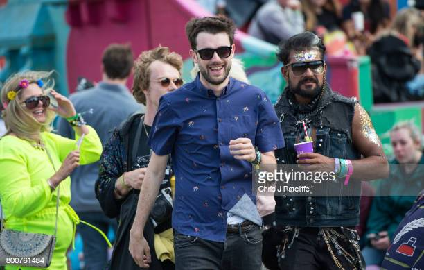 British comedian Jack Whitehall with actor Alfie Allen and Richard Madden are seen at Glastonbury Festival Site on June 25 2017 in Glastonbury...