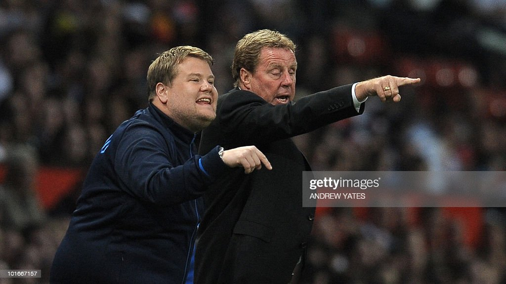 British comedian James Corden (L) helps out British manager Harry Redknapp during the Unicef Soccer Aid charity football match against the Rest of the world at Old Trafford in Manchester, north-west England on June 6, 2010. Soccer Aid is the brainchild of Robbie Williams and all money raised through profits from ticket sales and donations made by viewers of ITVduring the match will go to UNICEF�s invaluable work helping children around the world.