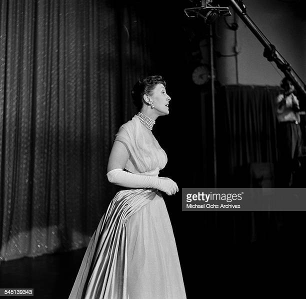 British comedian Joyce Grenfell performs on the 'Toast of the Town' show hosted by Ed Sullivan at the Maxine Elliott Theater in New York New York