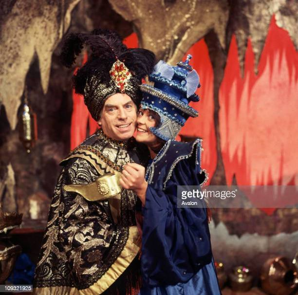 British Comedian Larry Grayson and Isla St Clair In a scene from the pantomime 'Aladdin'