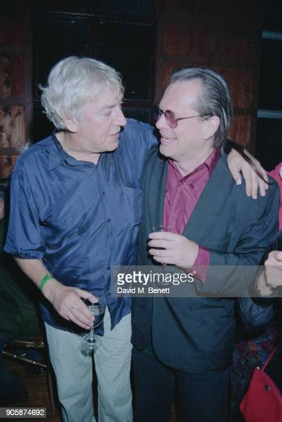 British comedian Peter Cook and American actor Terry Gilliam at the release party for the uncut version of 'Derek and Clive Get the Horn' UK 6th...