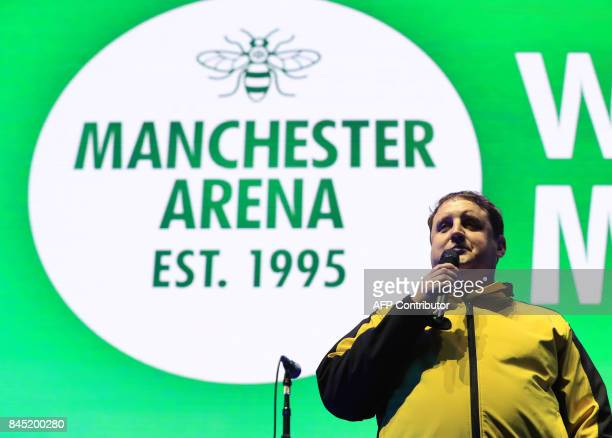 British comedian Peter Kay speaks during the 'We Are Manchester' charity concert at the Manchester Arena in Manchester northwest England on September...