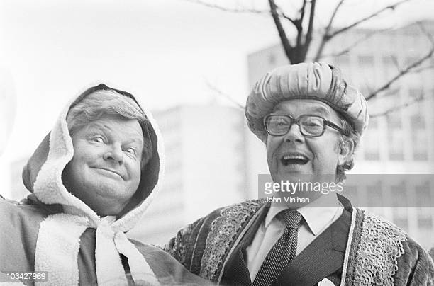 British comedians Benny Hill and Eric Morecambe promote their Thames Television Christmas specials in London England in December 1983