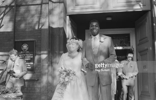 British comedians Dawn French and Lenny Henry at their wedding at St Paul's Covent Garden London 21st October 1984