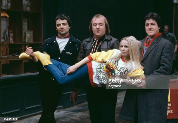 British comedians Rowan Atkinson, Mel Smith and Griff Rhys Jones with New Zealand-born comedian Pamela Stephenson in London, 20th October 1980....