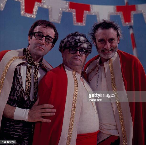 British comedians Spike Milligan Harry Secombe and Peter Sellers from The Goons perform on the set of the television show 'Aberfan' in 1967