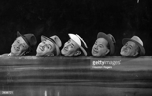 British comedians The Crazy Gang in 'Knights of Madness' at the Victoria Palace Theatre, London. Left to right: Jimmy Nervo, Teddy Knox, Bud...