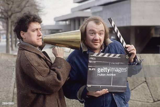 British comedy duo Griff RhysJones and Mel Smith announce the start of their new TV series entitled 'The World According To Smith and Jones'