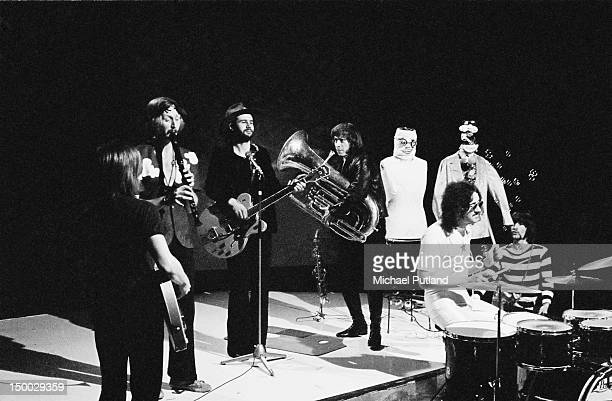 British comedy group the Bonzo Dog DooDah Band performing on the BBC TV show 'Top Of The Pops' London 28th November 1968 Left to right Dennis Cowan...