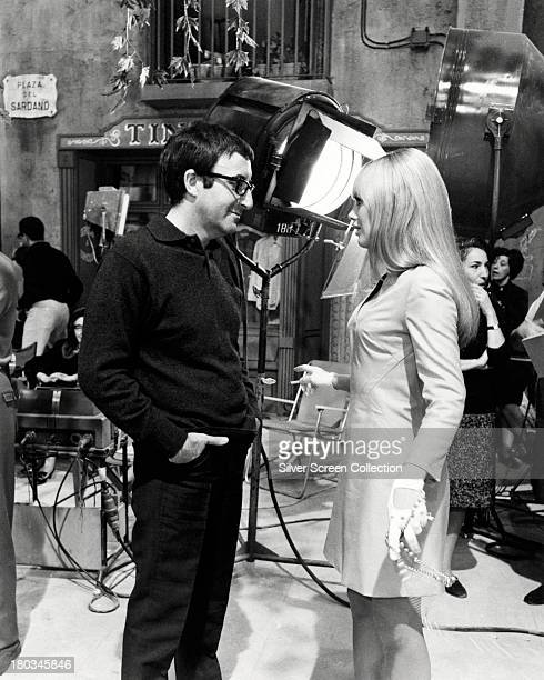 British comic actor Peter Sellers and Swedish actress Britt Ekland on the set of 'The Bobo' directed by Robert Parrish 1967 Sellers and Ekberg were...