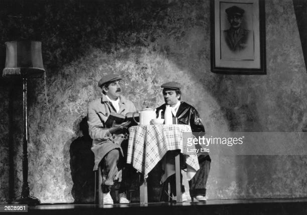 British comic duo Peter Cook and Dudley Moore on stage as Pete and Dud at the Royal Variety Performance.