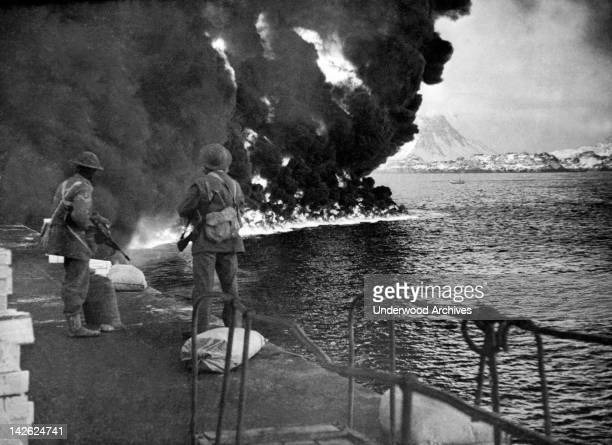 British Commandos making an incursion against the Nazis in Norway destroying ammunition dumps oils and gas depots and other strategic items Norway...