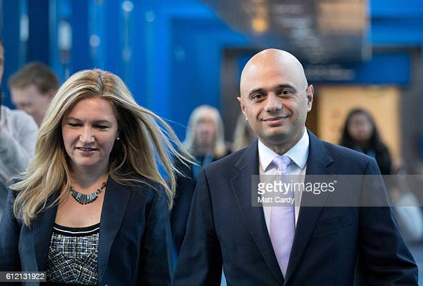 British Communities and Local Government Secretary Sajid Javid and his wife Laura arrive on the second day of the Conservative Party Conference 2016...