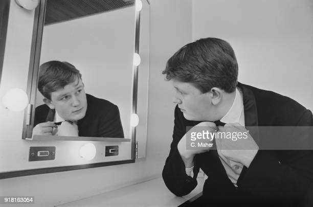 British composer and conductor Oliver Knussen getting ready to conduct his symphony's premiere at the Royal Festival Hall UK 7th April 1968