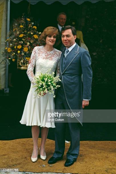 British composer and musical theatre impresario Andrew Lloyd Webber with his wife Madeleine Gurdon outside Saint Botolph's Church following their...