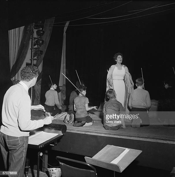 British composer Benjamin Britten conducts a rehearsal of his latest opera 'A Midsummer Night's Dream' in the Jubilee Hall in Aldeburgh 7th June 1960...