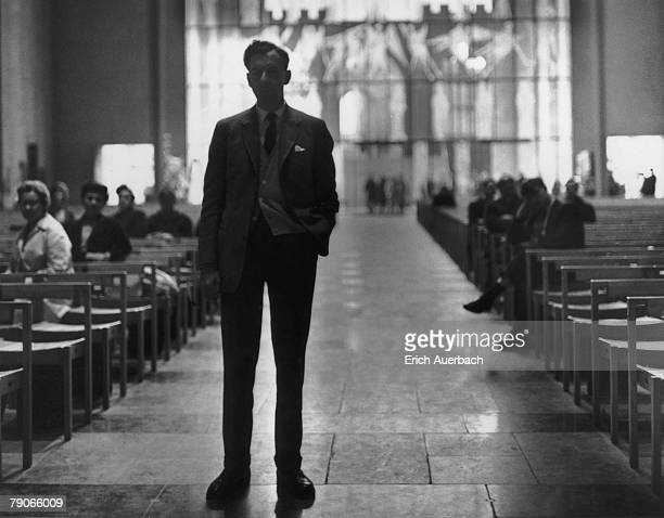 British composer Benjamin Britten in Coventry Cathedral during rehearsals for his 'War Requiem', 29th May 1962. The requiem mass was premiered the...