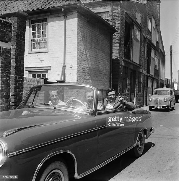 British composer Benjamin Britten leaves rehearsals for his latest opera 'A Midsummer Night's Dream' in his Mercedes convertible 7th June 1960 The...
