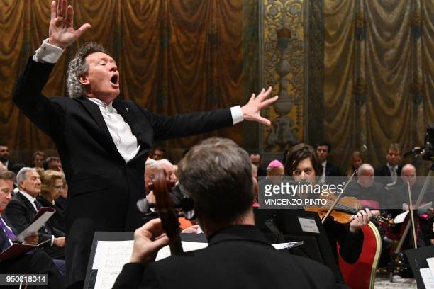 British composer Harry Christophers conducts the sir James MacMillians Stabat Mater by British choir in a concert live streamed for the first time...