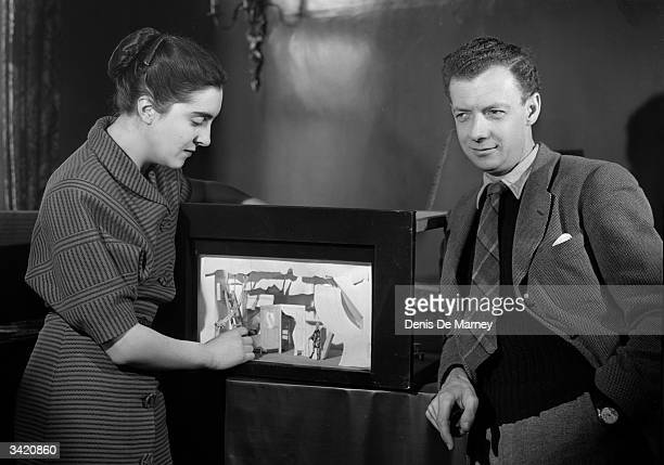 British composer pianist and conductor Benjamin Britten Baron Britten of Aldeburgh with designer Tanya Moiseiwitsch