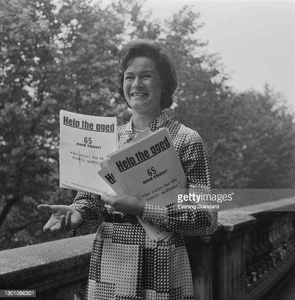 British concert pianist Marion Stein , the wife of Liberal leader Jeremy Thorpe, distributes leaflets for Help the Aged, UK, 21st July 1973.