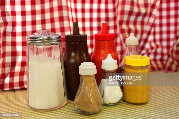 British condiments at a cafe