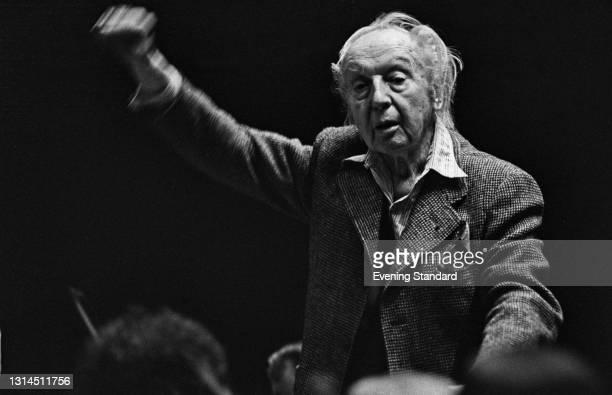 British conductor Leopold Stokowski , UK, 14th May 1974.
