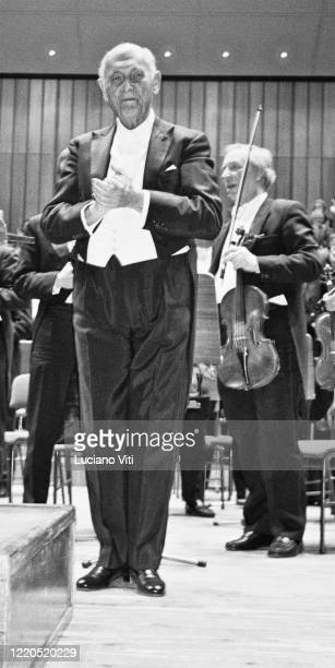 British conductor Sir Georg Solti with the London Symphony Orchestra, Rome, Italy, 1993.
