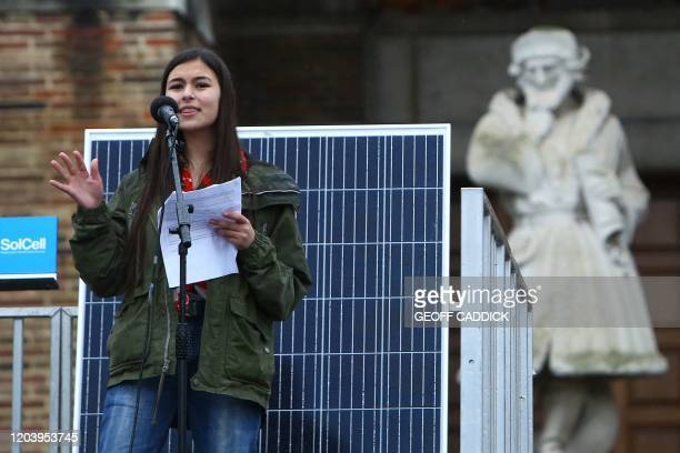 """British conservationist and environmental activist Mya-Rose Craig, known as BirdGirl, addresses a """"Youth Strike 4 Climate"""" protest in Bristol, south..."""