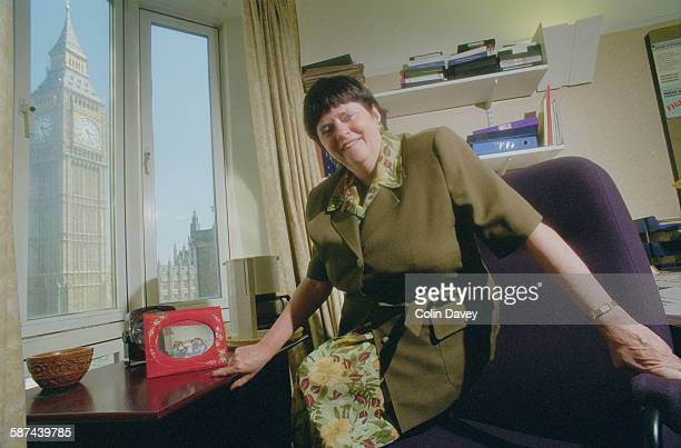 British Conservative MP Ann Widdecombe at her office in Parliament Street London 19th May 1998 Big Ben the clocktower of the Palace of Westminster is...