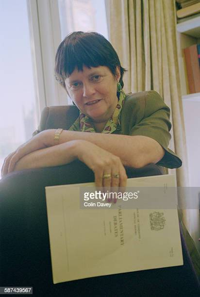 British Conservative MP Ann Widdecombe reading transcripts of parliamentary debates at her office in Parliament Street London 19th May 1998