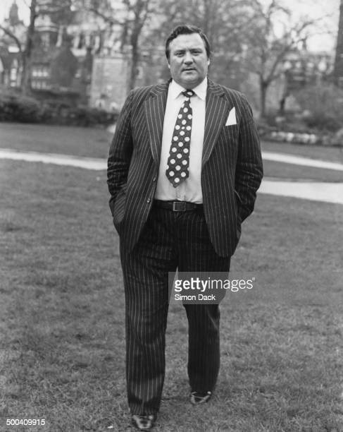 British Conservative MP for Huddersfield West Geoffrey Dickens outside the Palace of Westminster London 18th March 1981 An anti paedophile campaigner...