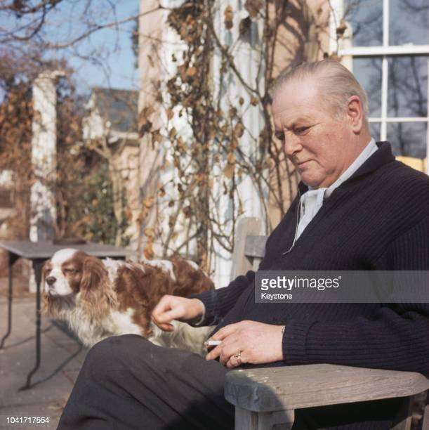 British Conservative MP Randolph Churchill the son of former Prime Minister Winston Churchill at Stour House his home in East Bergholt Suffolk circa...