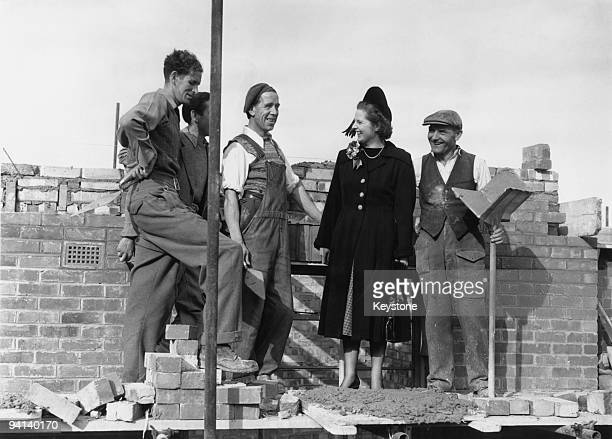 British Conservative Party candidate for Dartford Margaret Roberts with foreman bricklayer John Hayes during a canvassing tour of the constituency...