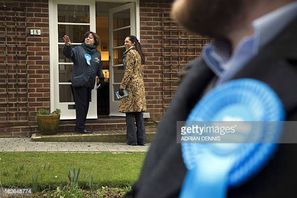 British Conservative Party candidate for the Eastleigh byelection Maria Hutchings is pictured with Helen Grant Parliamentary UnderSecretary of State...