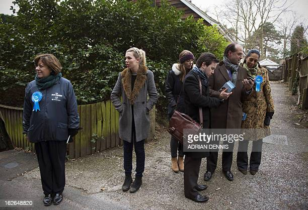 British Conservative Party candidate for the Eastleigh byelection Maria Hutchings is pictured as she campaigns for votes in the West End South Ward...