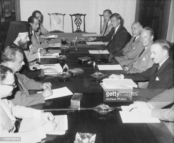 British Conservative Party Edward Heath Lord Privy Seal at a meeting with Greek Cypriot clergyman and politician Makarios III President of Cyprus on...