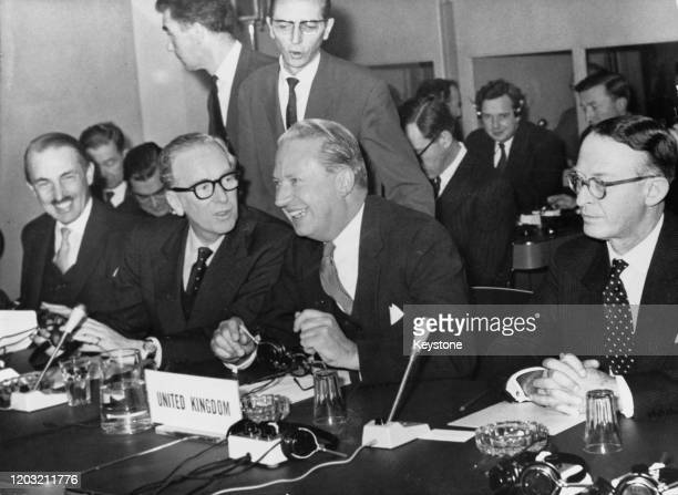 British Conservative Party Edward Heath , Lord Privy Seal, at a meeting with British delegates on the possibilities of Britain joining the European...