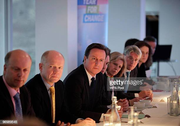 British Conservative party leader David Cameron heads a shadow cabinet meeting on February 23 2010 in London England According to the monthly...