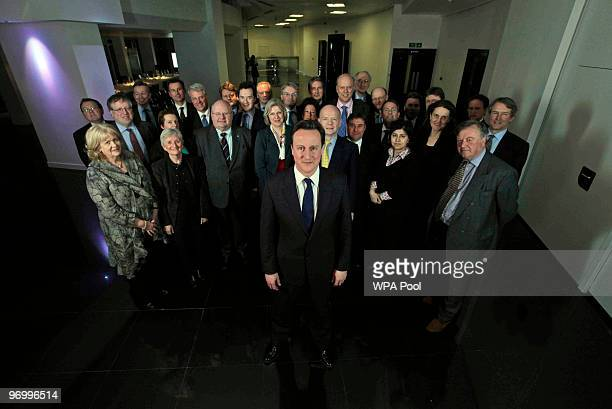 British Conservative party leader David Cameron poses for a portrait with his shadow cabinet on February 23 2010 in London England According to the...