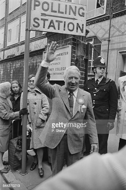 British Conservative Party leader Edward Heath at a polling station at Pulteney College in Westminster, London, on general election day, 10th October...