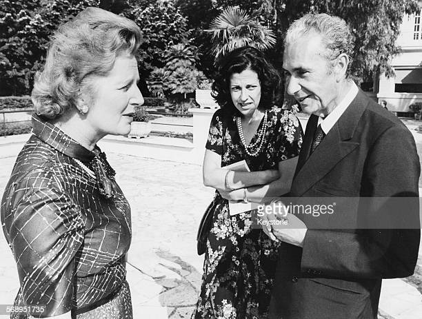 British Conservative Party leader Margaret Thatcher talking to Italian politician Aldo Moro during a visit to Rome circa 1977