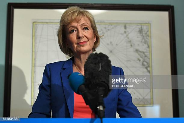 British Conservative Party leadership candidate Andrea Leadsom delivers a speech to launch her bid to become the Conservative party leader in London...