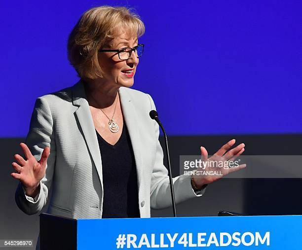 British Conservative Party leadership candidate Andrea Leadsom gestures as she delivers a leadership rally speech in central London on July 7 2016...