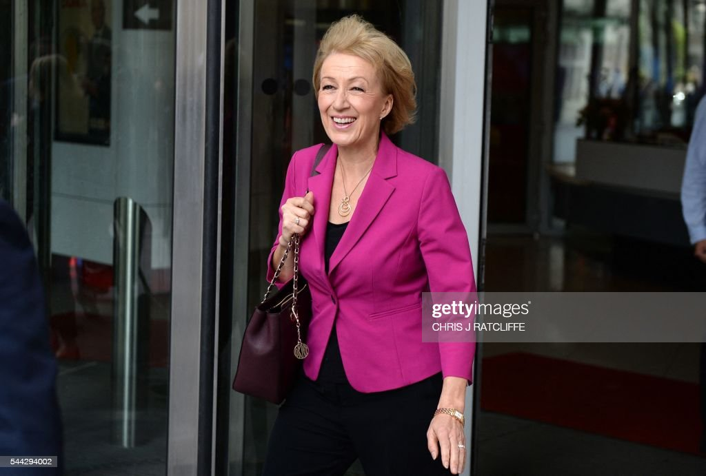 "Conservative party leadership candidate Andrea Leadsom arrives at BBC to appear on ""The Andrew Marr Show"""