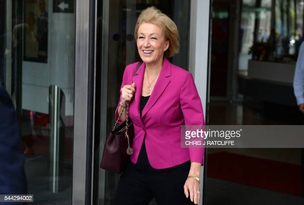 British Conservative party leadership candidate Andrea Leadsom leaves the BBC television centre in London after appearing on The Andrew Marr Show in...