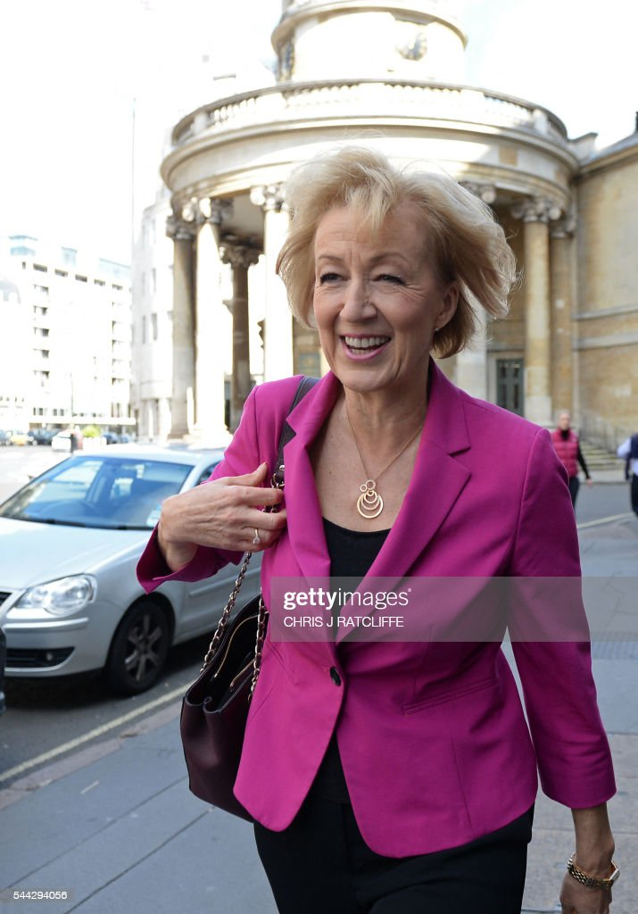 British Conservative party leadership candidate Andrea Leadsom leaves the BBC television centre in London after appearing on 'The Andrew Marr Show' in London on July 3, 2016. British media reported Saturday that energy minister and Brexit backer Angela Leadsom has become the favourite to face Theresa May on the ballot paper. / AFP / CHRIS