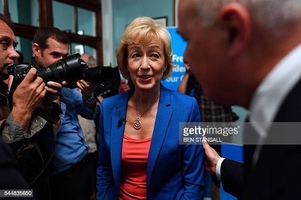 British Conservative Party leadership candidate Andrea Leadsom leaves after delivering a speech to launch her bid to become the Conservative party...